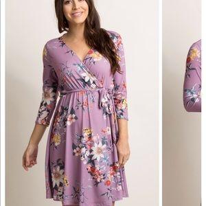 Purple Floral Sash Tie Maternity Dress- Pink Blush